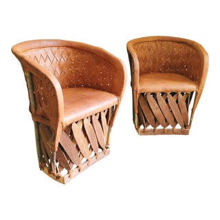 Early 21st Century Vintage Equipale Leather Woven Barrel Back Chairs- A Pair For Sale