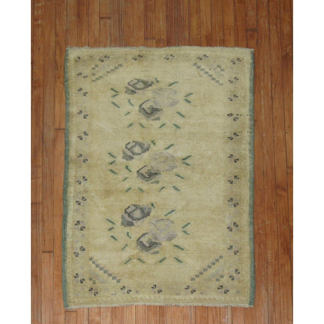 One of a kind Turkish Throw rug with a pretty floral design. circa mid 20th century