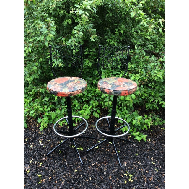 Pink Arthur Umanoff Wrought Iron Swivel Bar Stools - A Pair For Sale - Image 8 of 9