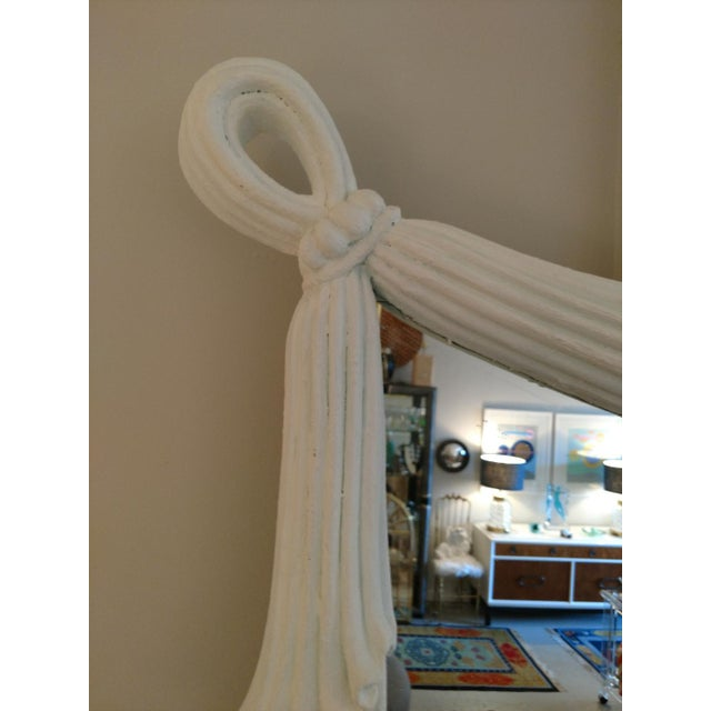 1980's Drapery Styled Framed Mirror, Vintage For Sale - Image 4 of 9