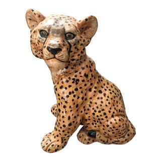Vintage Handpainted Wild Cat Cub Sculpture For Sale