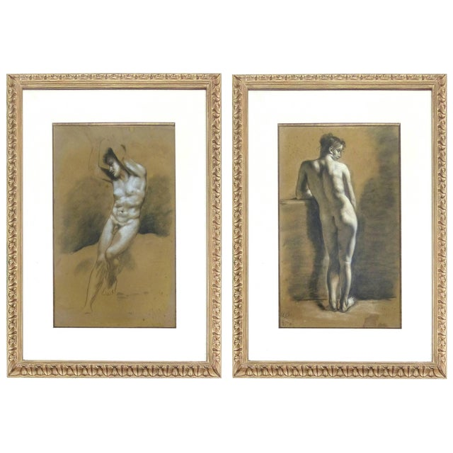 Drawings of Male Nude Figures Attributed to Francois Boucher, Circa 1750 - a Pair For Sale