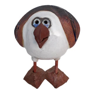 Signed Sue Davis Pottery Puffin Bird For Sale