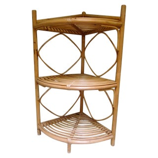 Vintage Rattan Bamboo Corner Shelf For Sale