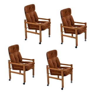 Solid Oak 1970s Modern Tufted Velour High Back Armchairs With Chrome Accents For Sale