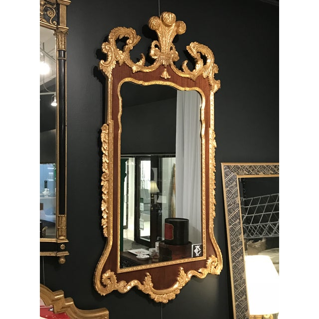 1960s 1960s Gothic Gilded Plume Top Gold & Wood Mirror For Sale - Image 5 of 5