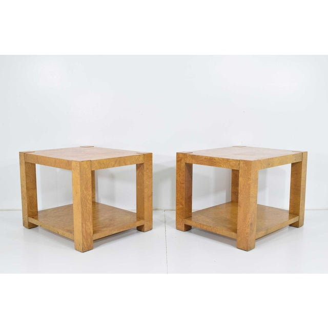 Pair of Milo Baughman Burl Wood End Tables or Nightstands For Sale - Image 10 of 10