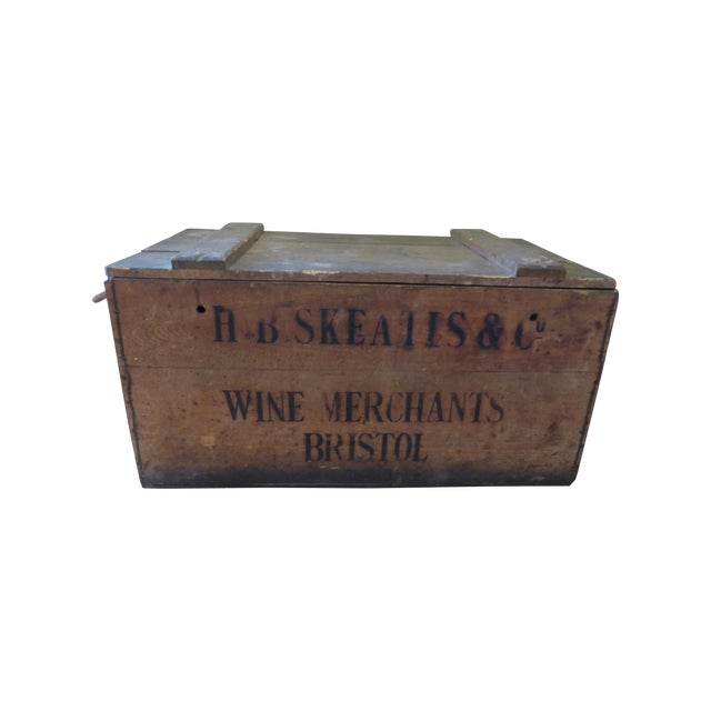 Vintage English Wooden Wine Crate For Sale