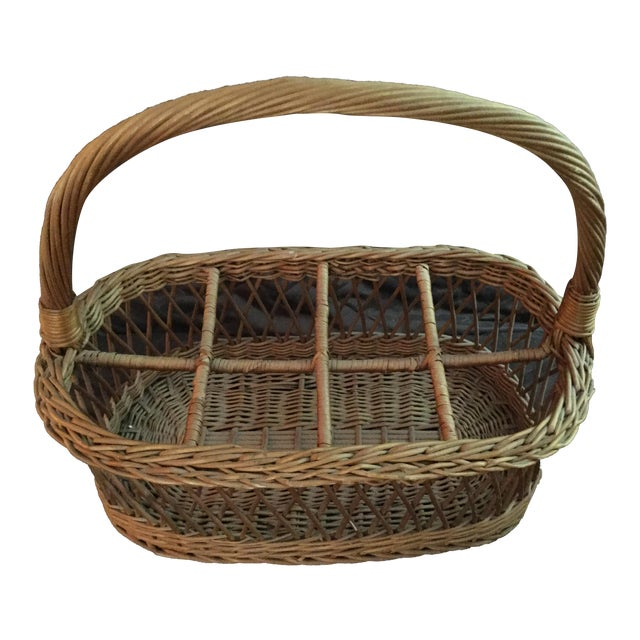 Vintage Rustic Storage Basket For Sale