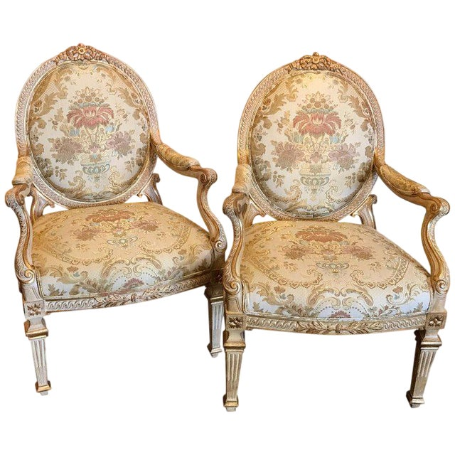 Pair of Louis XVI Style Carved Giltwood Bergère Chairs With Scalamandre Fabric For Sale