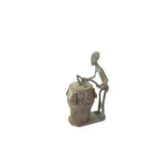 Vintage African Oxidized Copper Drummer For Sale