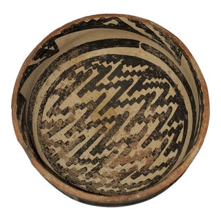 Native American Black and White Clay Pottery Decorative Bowl For Sale