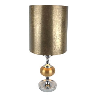 French Midcentury Maison Jansen Inspired Chrome Gold Shaded Table Lamp For Sale