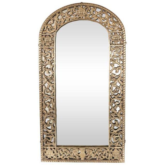 Brass Art Deco Gilded Bronze Arabesque Arch Form Mirror in the Manner of Edgar Brandt For Sale - Image 7 of 7
