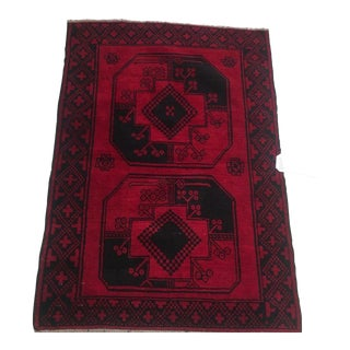 "Afghani Baluch Red Wool Rug - 2'8"" X 4'3"" For Sale"