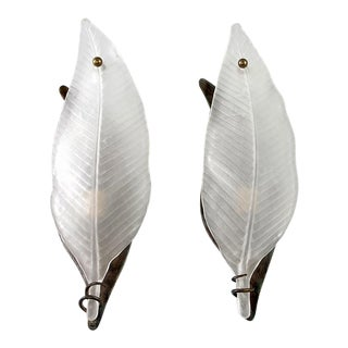 Extra Large Clear Frosted Murano Glass Leaf Form Sconces - A Pair