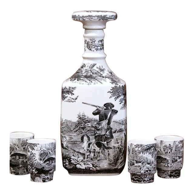 Mid-20th Century German Porcelain Painted Liquor Set From Villeroy & Boch For Sale