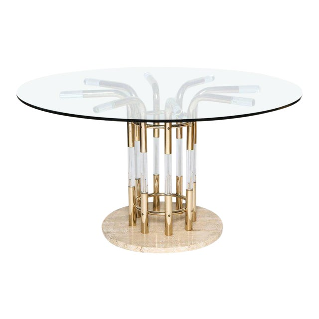 1970s Brass, Lucite, & Travertine Round Dining Table For Sale