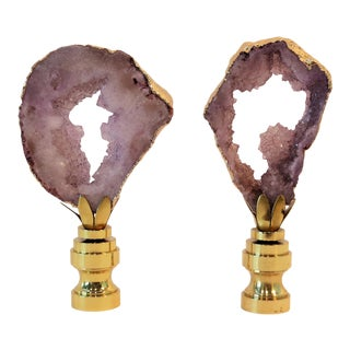 Lilac Purple Geode Finials in 14kt Gold by C. Damien Fox, a Pair. For Sale