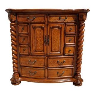 Aico Michael Amini English Style With Barley Twist Highboy Solid Wood Dresser For Sale
