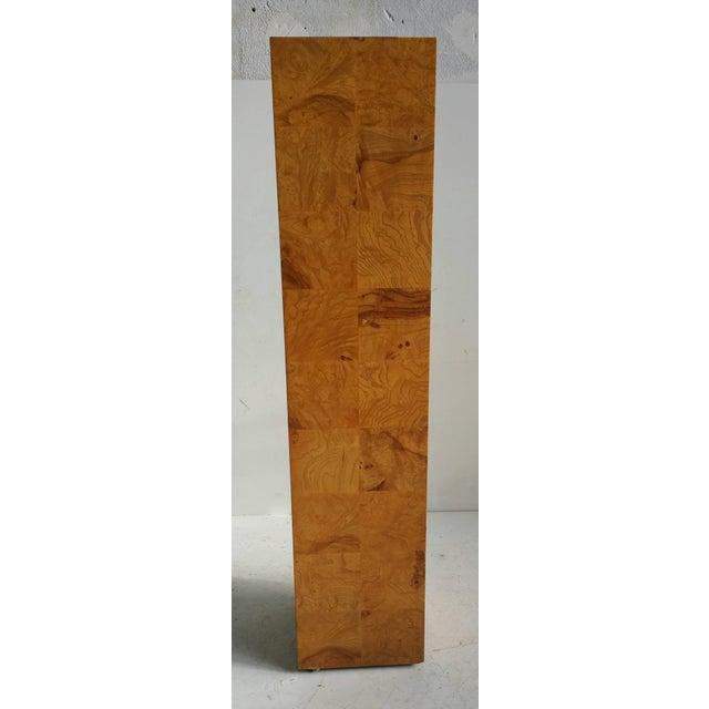 1970s Modernist Burl Walnut Patchwork Pedestal by Milo Baughman For Sale - Image 5 of 6