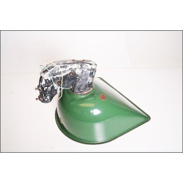 Vintage Industrial Large Green Enamel Light Fixture with Bracket - Image 10 of 11
