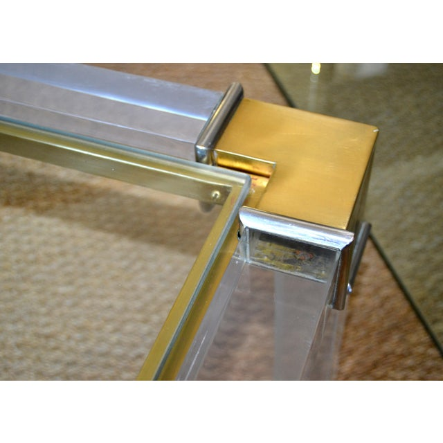 Gold Early Charles Hollis Jones Hollywood Regency Acrylic Bronze & Chrome Glass Table For Sale - Image 8 of 13