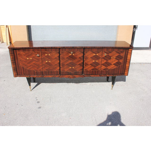 1940s Art Deco Exotic Macassar Ebony Mother-Of-Pearl Sideboard For Sale - Image 13 of 13
