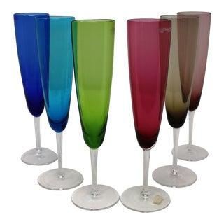 Nason Moretti Murano Glass Champagne Glasses - Set of 6 For Sale