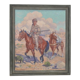 """Roscoe Litchfield """"Davy Crockett Out West"""" Oil Painting c.1940"""