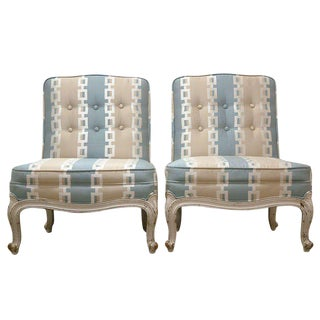 Circa 1950 French Provincial Drexel Blue, Cream and White With Anna French Cotton Twill Fabric Boudoir Chairs - a Pair For Sale