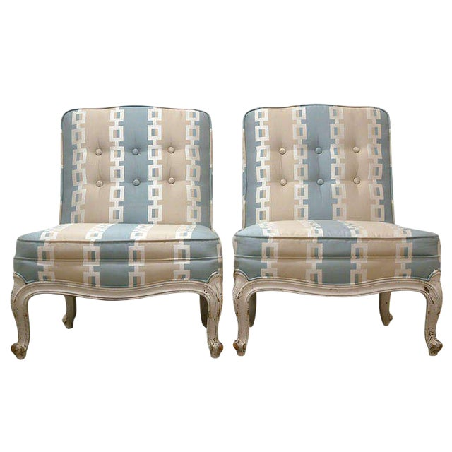 Circa 1950 French Provincial Drexel Blue, Cream and White With Anna French Cotton Twill Fabric Boudoir Chairs - a Pair - Image 1 of 11