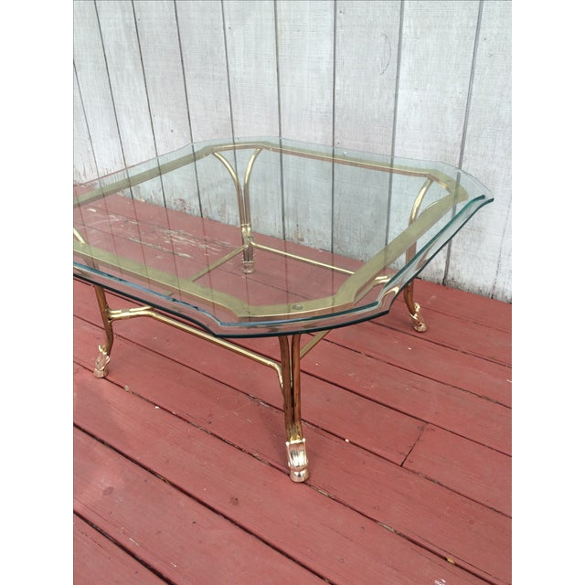 Hollywood Regency Brass Hoof Feet Coffee Table For Sale - Image 7 of 9
