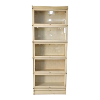 1990s Transitional Globe-Wernicke White Decorated Stack Barrister Bookcase For Sale