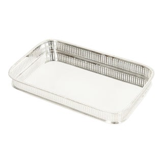 English Sheffield Silver Plated Barware / Tableware Footed Tray For Sale