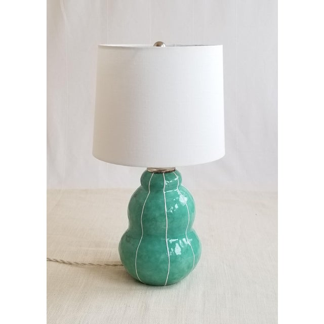 Turquoise Green Ceramic Table Lamp For Sale - Image 4 of 4
