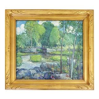 Vintage Post Impressionist Framed Oil Board Painting Signed Charles Reiffel 1930 For Sale