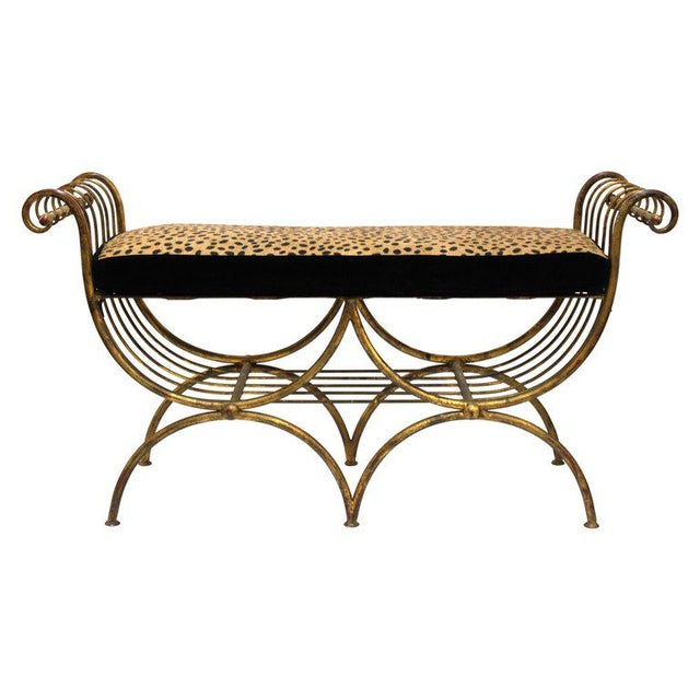 Mid Century Modern Italian Bench in Gilt Iron & Faux Leopard Leather Seat For Sale - Image 12 of 12