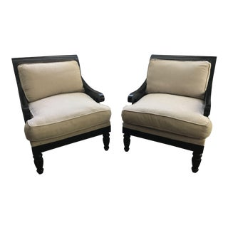 Drexel Heritage Cane & Upholstered Down Filled Chairs - a Pair