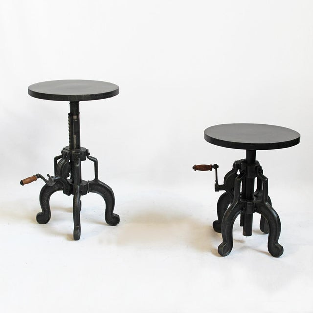 Small Iron Crank Side Table - Image 2 of 4