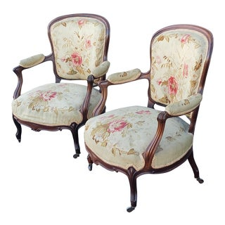 Pair Antique 19th Century Mahogany French Louis XV Fauteuil à La Reine Padded Armchairs C1860 For Sale