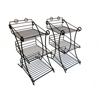 Mid-Century Modern Metal 3-Tiered Wire Indoor/Outdoor Plant Stand - Pair For Sale