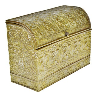 Vintage Brass Repousse Dome Top Tea Box