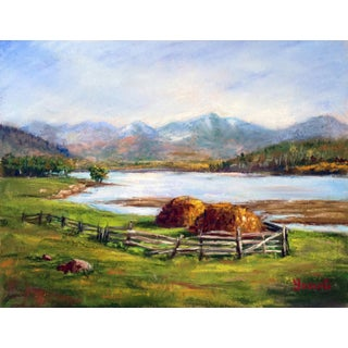 Haystacks by the River Pastel Drawing For Sale