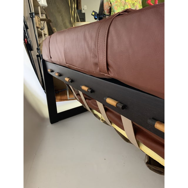 Brown 1950s Vintage Percival Lafer Brazilian Rosewood & Leather Sofa For Sale - Image 8 of 12