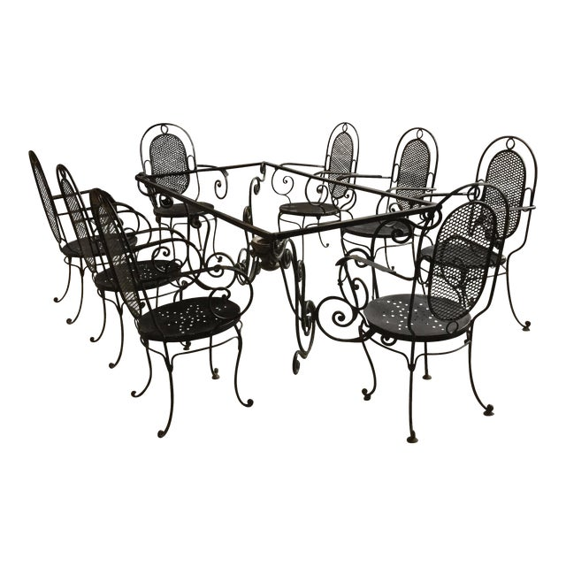 1900s Art Nouveau Indoor and Outdoor Iron Dining Set - 9 Pieces For Sale