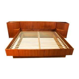 Poul Hundevad Danish Modern King Teak Tambour Door Platform Bed For Sale