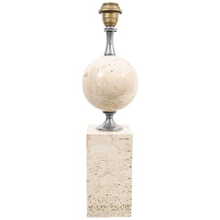 Mid-Century Maison Barbier Table Lamp in Travertine For Sale