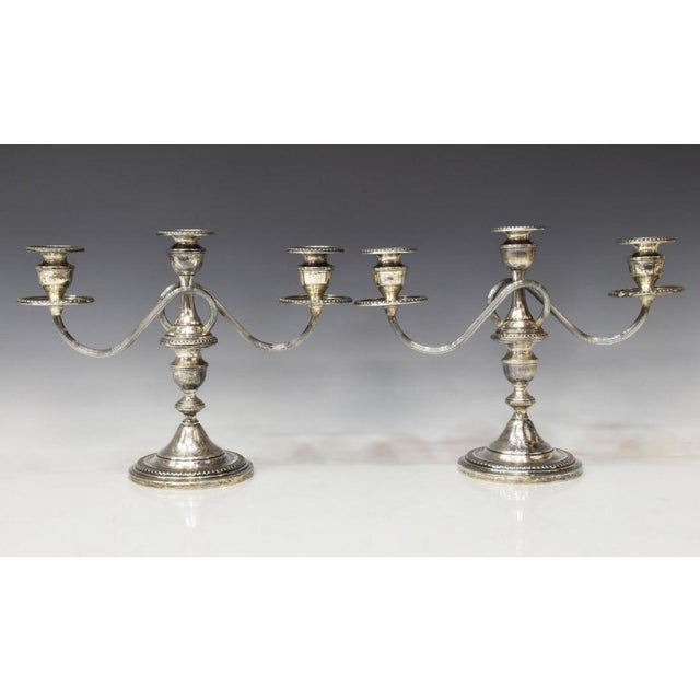 1940s Sterling Silver Three-Light Candelabras - a Pair For Sale - Image 10 of 11