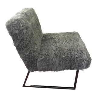 Mid Century Modern Gray Curly Lamb Lounge Chair